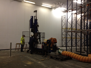 Rotary Auger drilling in a freezer warehouse